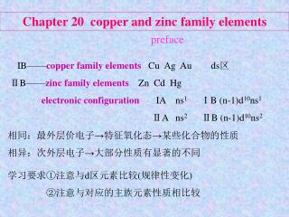 Chapter 20  copper and zinc family elements