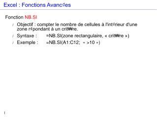 Excel : Fonctions Avanc₫es