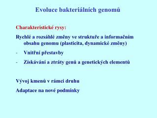 Evoluce bakteriálních genomů