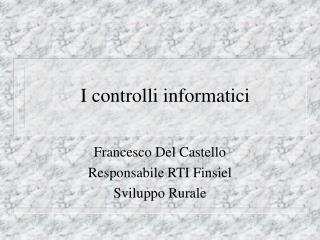 I controlli informatici