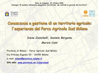 Conoscenza e gestione di un territorio agricolo: l'esperienza del Parco Agricolo Sud Milano