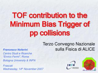 TOF contribution to the Minimum Bias Trigger of pp collisions
