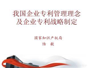 我国企业专利管理理念 及企业专利战略制定
