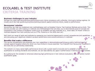 ECOLABEL & TEST INSTITUTE CRITERIA TRAINING