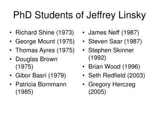 PhD Students of Jeffrey Linsky