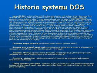 Historia systemu DOS