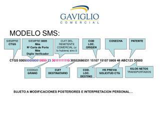 MODELO SMS: CTGS 0005 00000001 9999  23  30111111119  30552686531 15107 15107 0809 48 ABC123 30000