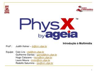 Introdu��o � Multim�dia Prof�.:Judith Kelner �  jk@cin.ufpe.br