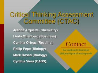 Critical Thinking Assessment Committee (CTAC)
