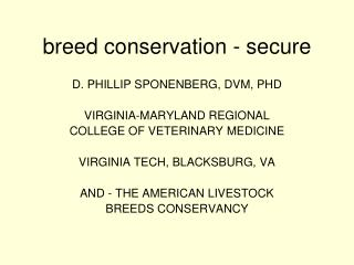breed conservation - secure