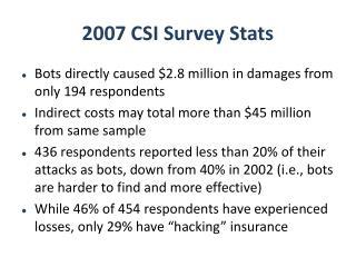 2007 CSI Survey Stats