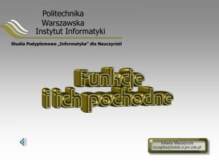 """Studia Podyplomowe """"Informatyka"""" dla Nauczycieli"""