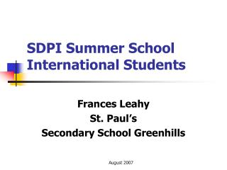 SDPI Summer School International Students