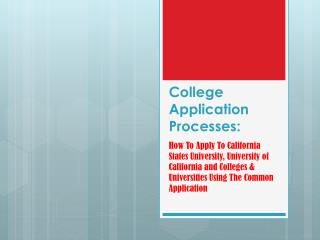 College Application Processes: