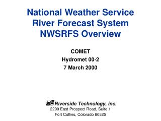 National Weather Service River Forecast System NWSRFS Overview