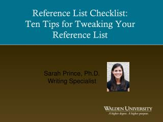 Reference List Checklist: Ten Tips for Tweaking Your Reference List