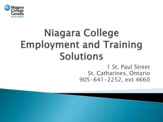 Niagara College Employment and Training Solutions