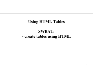 Text tables, graphical tables, table rows, columns and headings