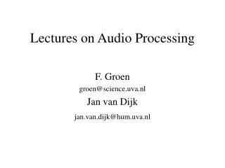 Lectures on Audio Processing