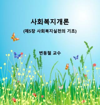 사회복지개론 ( 제 5 장 사회복지실천의 기초 ) 변동철 교수