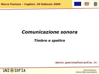 Comunicazione sonora Timbro e spettro