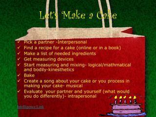 Let�s Make a Cake
