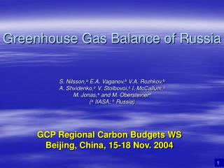 Greenhouse Gas Balance of Russia