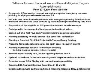 California Tsunami Preparedness and Hazard Mitigation Program FY 09 Funding Request ($619,268)