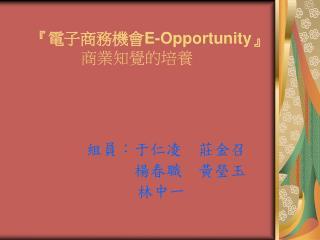 『 電子商務機會 E-Opportunity』 商業知覺的培養