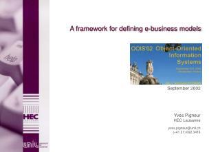 A framework for defining e-business models