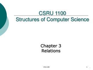 CSRU 1100  Structures of Computer Science