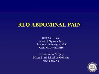 RLQ ABDOMINAL PAIN