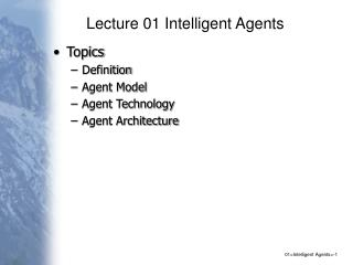 Lecture 01 Intelligent Agents