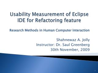 Usability Measurement of Eclipse IDE for Refactoring feature