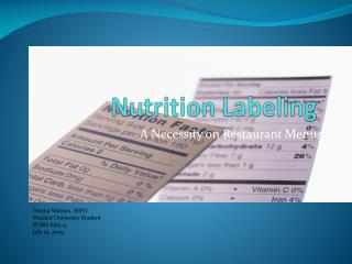 Nutrition Labeling
