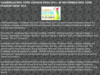 CARIBBEAN NEW YORK FASHION WEEK 2014