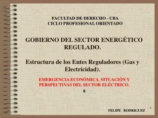 EMERGENCIA ECONÓMICA. SITUACIÓN Y PERSPECTIVAS DEL SECTOR ELÉCTRICO. 8