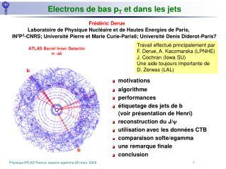 Electrons de bas p T  et dans les jets