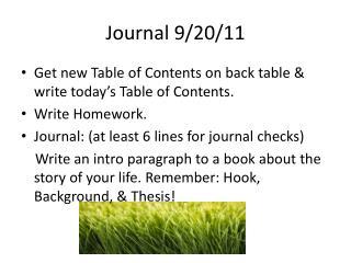 Journal 9/20/11