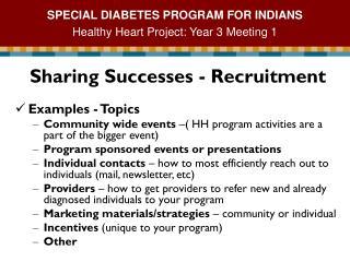Sharing Successes - Recruitment