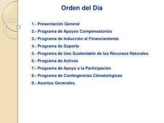 1.- Presentación General 2.- Programa de Apoyos Compensatorios