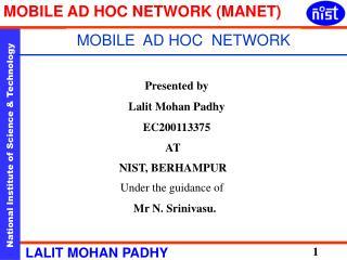 MOBILE  AD HOC  NETWORK