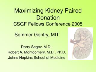Maximizing Kidney Paired Donation CSGF Fellows Conference 2005
