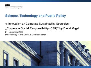 Science, Technology and Public Policy
