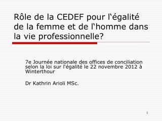 Rôle  de la CEDEF  pour l'égalité  de la  femme  et de  l'homme dans  la  vie professionnelle ?