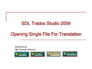SDL Trados Studio 2009 Opening Single File For Translation