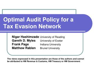 Optimal Audit Policy for a Tax Evasion Network