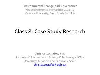 Class 8: Case Study Research