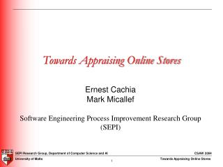 Towards Appraising Online Stores