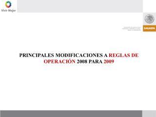 PRINCIPALES MODIFICACIONES A  REGLAS DE OPERACIÓN  2008 PARA  2009